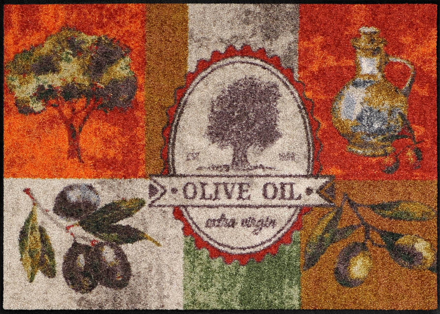Salonloewe küchenteppich olive oil waschbar trocknergeeignet