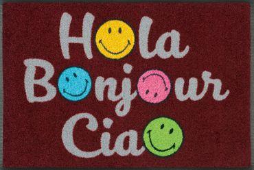 wash+dry Fußmatte Smiley Hola Bonjour Ciao 50 x 75 cm lustige waschbare Fußmatte