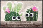 Salonloewe Fußmatte Kaktus Freunde 50 x 75 cm waschbare Schmutzmatte  001