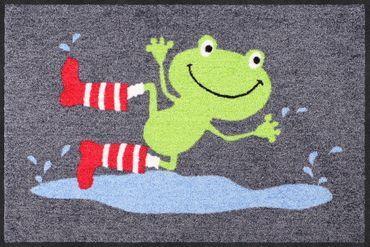 Salonloewe Fußmatte Jumping Frog  50 x 75 cm waschbare Schmutzmatte Tiermotiv – Bild 1