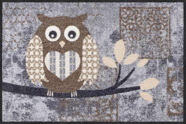 Salonloewe Fußmatte Eulen Vintage Betty nature chic 50 x 75 cm waschbar  – Bild 1