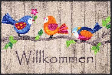 Salonloewe Fußmatte Birds Wood 50 x 75 cm waschbar Schmutzmatte Willkommen Tier