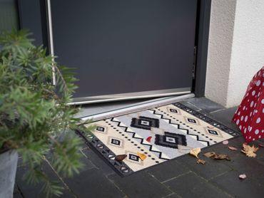 Salonloewe Fußmatte Kelim Stripes grey waschbar Schmutzmatte Willkommen – Bild 4