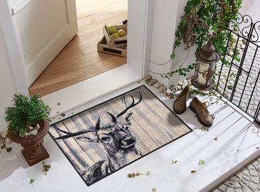 Salonloewe Fußmatte Natural Deer nature chic waschbar Schmutzmatte Landhaus – Bild 4