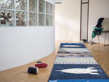 Salonloewe Fußmatte Space Time 75 x 190 cm waschbar Schmutzmatte bunt – Bild 2