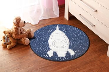 Salonloewe Fußmatte Space Time 75 cm rund waschbar Schmutzmatte bunt – Bild 2