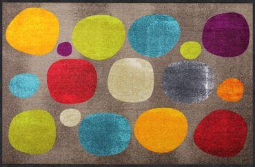Salonloewe Fußmatte Broken Dots colourful 115 x 175 cm waschbar Schmutzmatte Kreise – Bild 1
