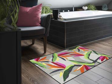 Salonloewe Fußmatte Bloom Parrot Flower waschbar Schmutzmatte  – Bild 3