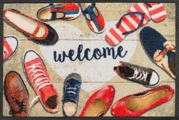 wash+dry Fußmatte Shoes welcome 40 x 60 cm waschbare Fußmatte