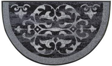 wash+dry Fußmatte Round Ornaments 50 x 85 cm halbrund waschbare Schmutzmatte