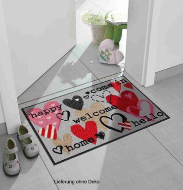 Salonloewe Fußmatte Happy Hearts 50 x 75 cm waschbar Schmutzmatte – Bild 2