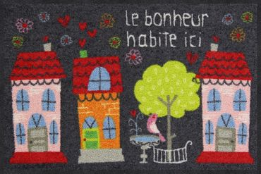 Salonloewe Fußmatte Le Bonheur 50 x 75 cm waschbar Schmutzmatte