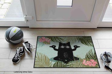 Salonloewe Fußmatte Yogakatze 50 x 75 cm waschbar Schmutzmatte – Bild 2