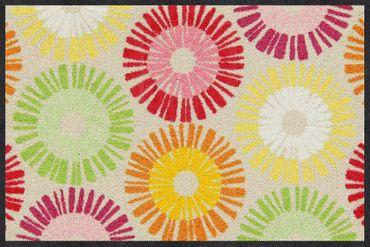Salonloewe Fußmatte Sun Circles Spring 50 x 75 cm waschbar Schmutzmatte – Bild 1