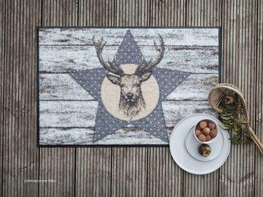 Salonloewe Fußmatte Deer Star 50 x 75 cm waschbar Schmutzmatte – Bild 2