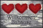 Salonloewe Fußmatte Willkommem Stoffherz 50 x 75 cm waschbar Schmutzmatte 001