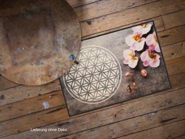 Salonloewe Fußmatte Flower of Life 50 x 75 cm waschbar Schmutzmatte – Bild 2