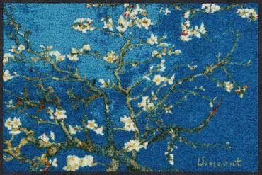 Salonloewe Fußmatte Mandelbaum türkis 50 x 75 cm waschbar Schmutzmatte – Bild 1