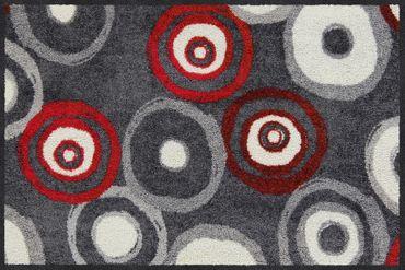 Salonloewe Fußmatte Lena grau-rot Türvorleger Läufer  – Bild 1