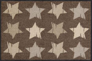 Salonloewe Fußmatte Wood Stars Nougat 50 x 75 cm waschbar  – Bild 1