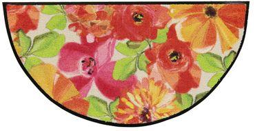 Salonloewe Fußmatte Flower bed beige rose halbrund 42 x 85 cm waschbar