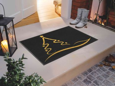 wash+dry Fußmatte Golden Shine 50 x 75 cm Weihnachten waschbare Schmutzmatte  – Bild 2