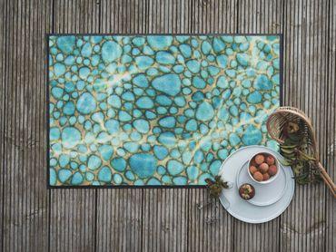 Salonloewe Fußmatte Turquoise Stone 50 x 75 cm waschbar Schmutzmatte – Bild 2
