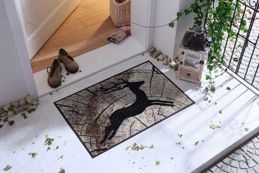 Salonloewe Fußmatte Passing Deer 50 x 75 cm waschbar Schmutzmatte – Bild 2