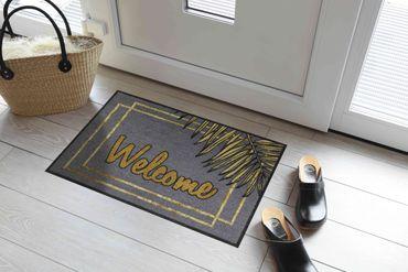 Salonloewe Fußmatte Welcome Gold Leaves 50 x 75 cm waschbar Schmutzmatte – Bild 2