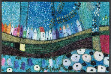 wash+dry Fußmatte Stadt in Blau 40 x 60 cm kleine Schmutzmatte