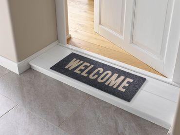 wash+dry Fußmatte Welcome graphite 30 x 70 cm waschbare Minimatte – Bild 1