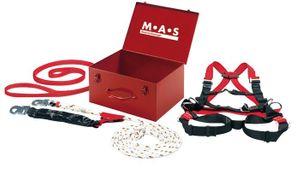 MAS Sicherheitskoffer 4tlg. Anschlagband B2 Auffanggurt 90 16 Seil-L.15m EN363 – Bild 1