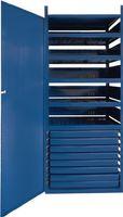 LOGS Regalelement Schrank m. Tür 145 H1820xB540xT390mm Blau RAL 5022 8 Schubl.