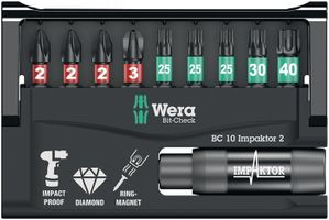 WERA Bit-Sortiment 10teilig IMPAKTOR PH/T/Ringmagneth diamantbeschichtet – Bild 1