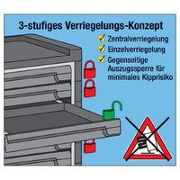 HAZET Werkstattwagen 8Schubl. 7flache/1hohe B.817xT.502xH1040 m.Auszugssperre – Bild 4