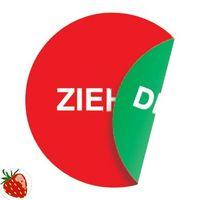 Folie Ziehen/Drücken D.100mm rot/grün 2seitig selbstklebend – Bild 1