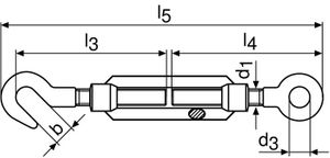 10x Spannschloss DIN1480 verz.m.Haken u.Öse L.172-252mm M6 Augen-W.9mm – Bild 2
