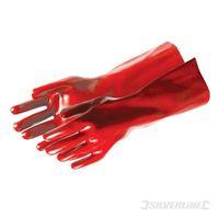 Silverline Rote PVC-Schutzhandschuhe, lange Ausführung Einheitsgröße