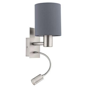 Wandleuchte Stofflampe PASTERI L: 15cm in grau mit Wippschalter