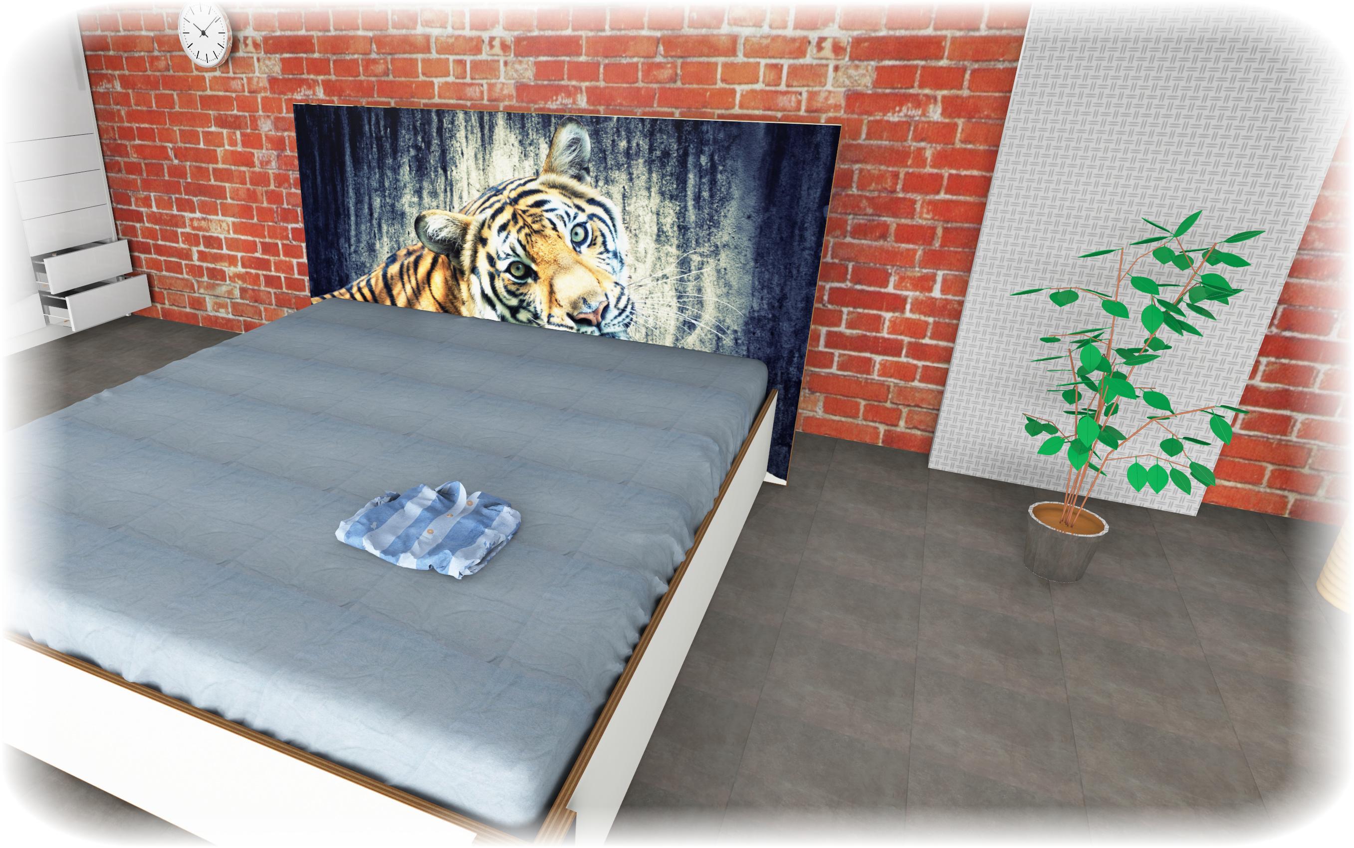 Wasserbett mit Rahmen bedruckt