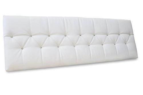 Polster Bett Kopfteil Weiß mit Swarovski Steinen