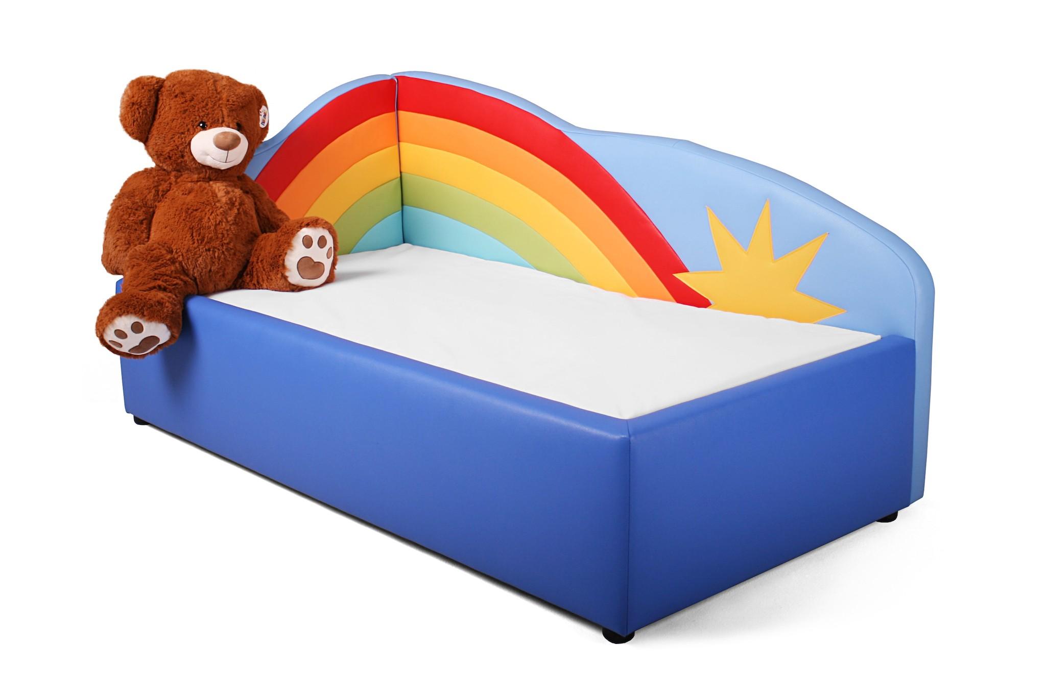 kinderbett tomto motiv regenbogen inkl matratze und lattenrost kinderzimmer m bel kinderbett. Black Bedroom Furniture Sets. Home Design Ideas