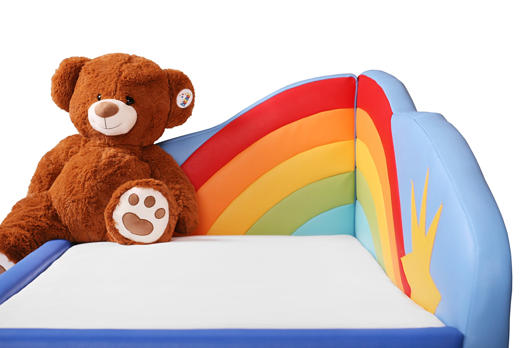 kinderbett tomto motiv regenbogen inkl matratze und lattenrost kinderzimmer m bel kinderbett. Black Bedroom Furniture Sets. Home Design Ideas