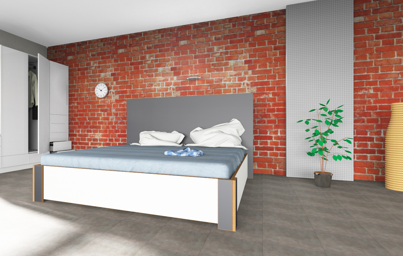 Luxus Wasserbett inkl. Bettrahmen & Kopfteil Multiplex-Optik Graphit & White