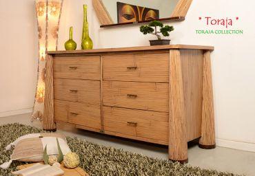Bambus Sideboard Toraja (6 Schubladen) - natur