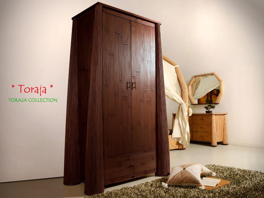 bambus kleiderschrank toraja dunkel. Black Bedroom Furniture Sets. Home Design Ideas