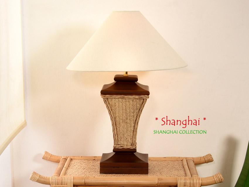 Bambus Nachttischlampe Shanghai - Asia Style