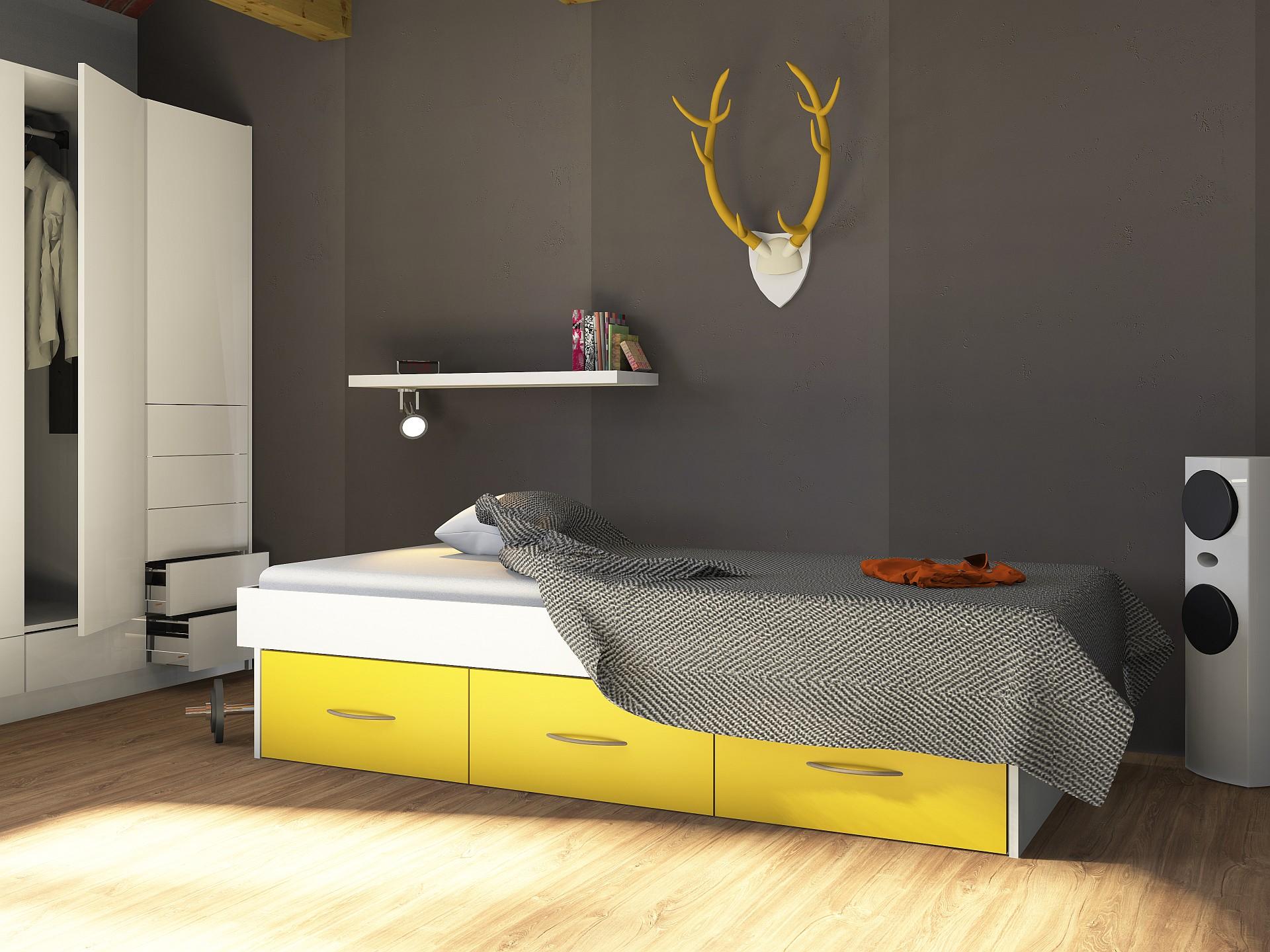 Einzelbett KALEY mit 3 Schubladen, Color-Line