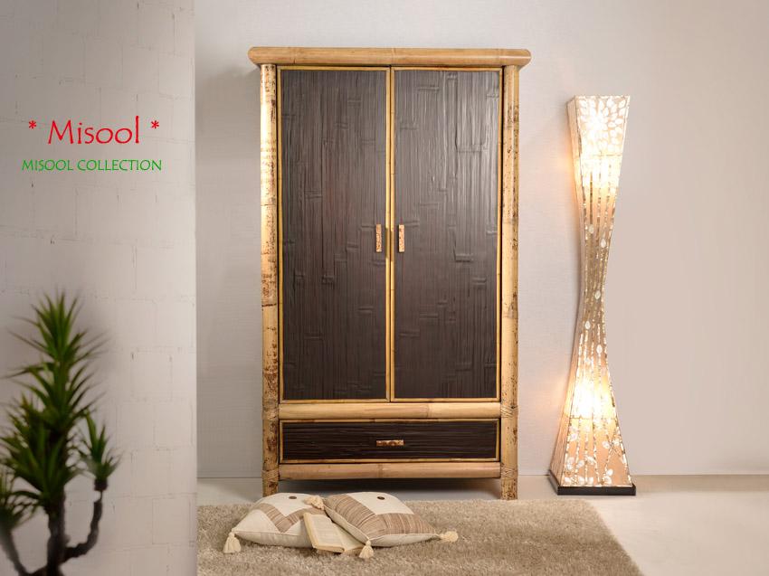 bambus kleiderschrank misool 2 t ren. Black Bedroom Furniture Sets. Home Design Ideas