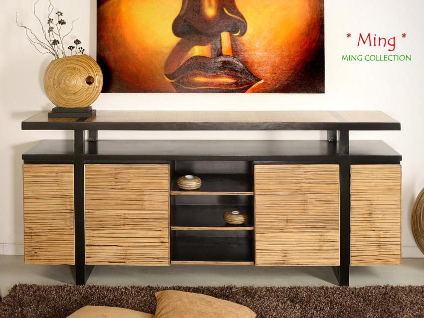 Bambus TV-Sideboard Ming (3 Fächer, 4 Türen)